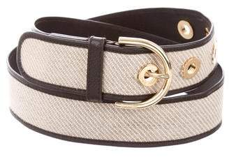 Loro Piana Leather-Trimmed Canvas Belt