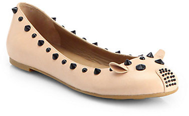 Marc by Marc Jacobs Mouse Studded Leather Ballet Flats