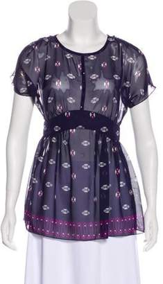 Anna Sui Printed Short Sleeve Top Aubergine Printed Short Sleeve Top