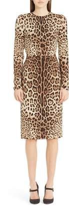 Dolce & Gabbana Leopard Print Stretch Silk Sheath Dress