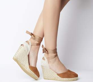 dba0cf4b36bf Gaimo For Office Ankle Wrap Espadrille Sandals Tan Suede