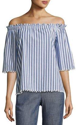 Trina Turk Aleja Off-the-Shoulder Striped Poplin Top, Blue $188 thestylecure.com