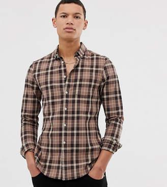 Asos Design DESIGN Tall slim fit check shirt in brown