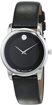 Movado Womens Analogue Classic Quartz Watch with Leather Strap 606503