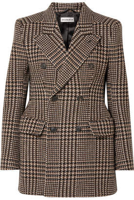 Balenciaga Hourglass Houndstooth Wool Blazer - Brown