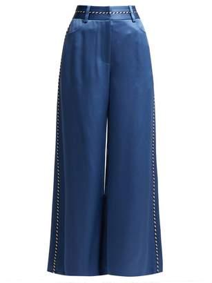 Peter Pilotto Wide Leg Satin Culottes - Womens - Blue