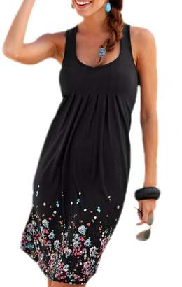 Lettre d'amour Women Sleeveless Printing Draped Swing A-Line Loose Holiday Dress L