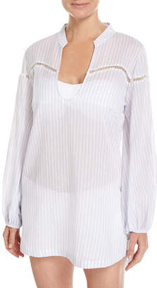 Suboo Into You Striped Beach Coverup Shirt, White $160 thestylecure.com