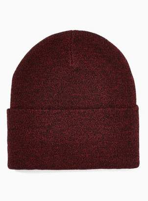 Topman Mens Red Burgundy and Black Twist Skater Beanie