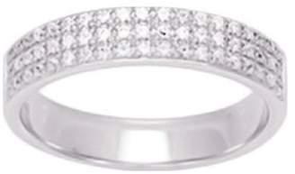 575 Denim So Chic Jewels - 9k White Gold 0.25 ct Diamond 4 mm Half Eternity Wedding Band Ring - Size 8.5