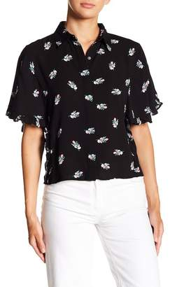 Love, Fire Printed Button-Up Woven Top