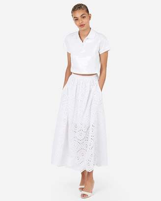 Express X Karla High Waisted Eyelet Lace Maxi Skirt