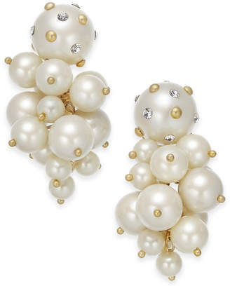 Kate Spade Gold-Tone Pave & Imitation Pearl Cluster Drop Earrings