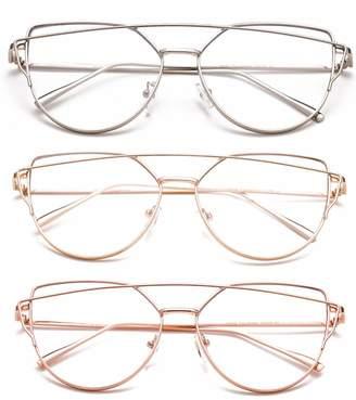 b066c4279563 clear Newbee Fashion Lens Newbee Fashion - Oversized Fashion Glasses  Transparent Lenses Stylish Aviator Bar Frames