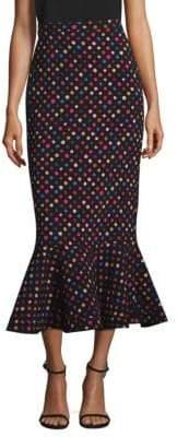 Saloni Portia Polka Dot Midi Skirt