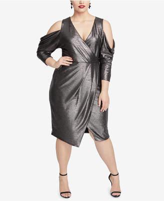 Rachel Roy Plus Size Cold-Shoulder Metallic Wrap Dress
