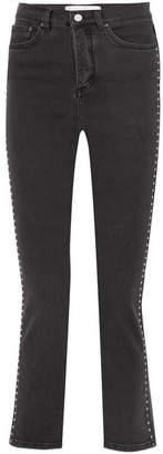Victoria Beckham Victoria, Stud-embellished High-rise Slim-leg Jeans - Black