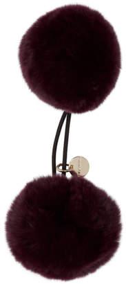 Yves Salomon Purple Double Pom Hair Tie