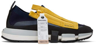 Diesel Navy and Yellow S-Padola Sneakers