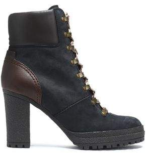 See by Chloe Leather-Paneled Nubuck Ankle Boots