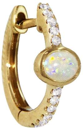 Jacquie Aiche Oval Opal and Diamond Mini Single Hoop Earring - Yellow Gold