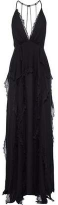 Haute Hippie Waterfall Chantilly Lace-paneled Ruffled Silk Crepe De Chine Gown