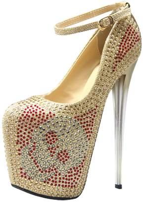 fereshte Women's Glitter Rhinestone Ankle Strap Platform High Stiletto Heels Dress Wedding Pumps US 8.5