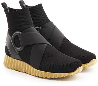 Salvatore Ferragamo Sock Sneakers with Mesh and Leather