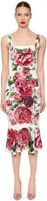 Dolce & Gabbana Floral Stretch Charmeuse Fitted Dress