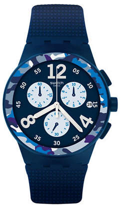 Swatch Colour Studio Collection Camoblu Navy Silicone Strap Watch