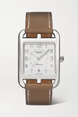 Hermes Timepieces - Cape Cod Automatic 29mm Large Stainless Steel And Leather Watch - Silver