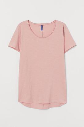 H&M Raw-edge T-shirt - Pink