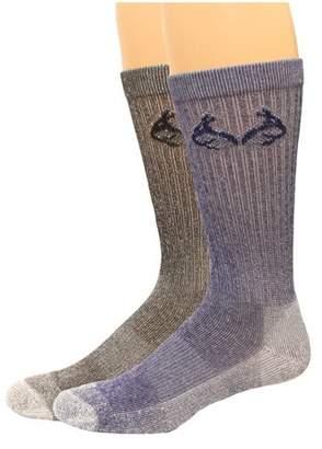 Coolmax Realtree RealTree Men's Crew Socks, 2 Pair, Large (M 9-13), Denim/Blk