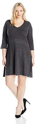 NY Collection Women's Plus Size 3/4 Sleeve V Neck Fit and Flare Sweater Dress