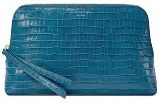 Aspinal of London Large Essential Cosmetic Case In Deep Shine Topaz Small Croc