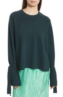 Tibi Merino Wool & Silk Bell Sleeve Pullover
