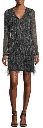 Parker Black Gia Long-Sleeve Beaded Cocktail Dress w/ Feather Trim