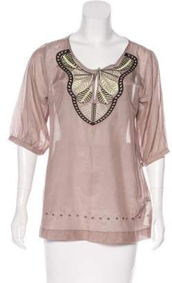 BCBGMAXAZRIA Embroidered Short Sleeve Top