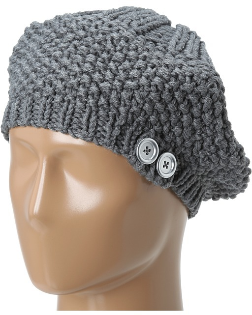 Hat Attack Knit Beret w/ Buttons Berets