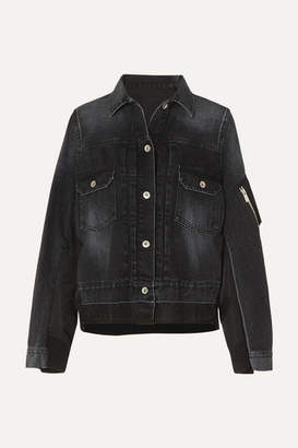 Sacai Paneled Denim And Shell Jacket - Black