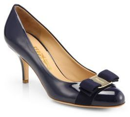 Salvatore Ferragamo Carla Patent Leather Bow Pumps $595 thestylecure.com