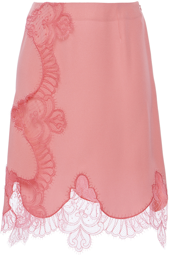 Alexis MabilleAlexis Mabille Pink Lace Wrap Mini Skirt