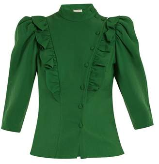 Vika Gazinskaya High Neck Ruffle Trimmed Blouse - Womens - Green