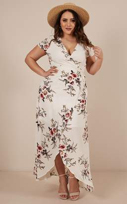 Showpo Wrap and Cross maxi dress in white print - 14 (XL) Dresses