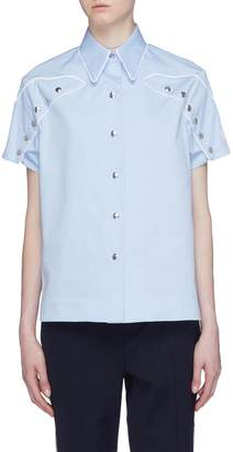 Calvin Klein Scallop trim snap button sleeve shirt