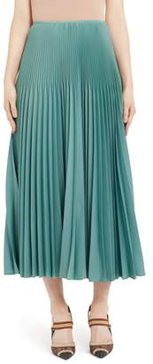 Fendi Drop Waist Pleated Mohair & Wool Midi Skirt