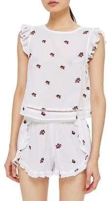 Topshop Floral Embroidered Pajama Top
