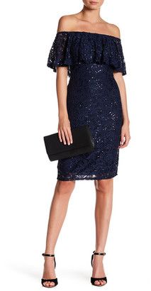 Marina Off-The-Shoulder Sequin Lace Dress $129 thestylecure.com