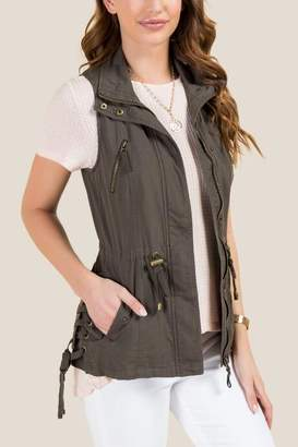 francesca's Kaylee Lattice Linen Vest - Dark Olive