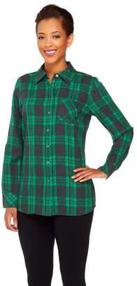 Denim & Co. Brushed Cotton Plaid Shirt